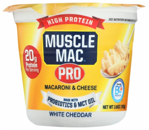 Muscle Mac Pro White Cheddar Macaroni & Cheese Single Serve Cup Perspective: front