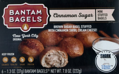 Bantam Bagels Brown Sugar Walnut Bagel Topped with Glaze Stuffed with Cinnamon Swirl Cream Cheese Perspective: front