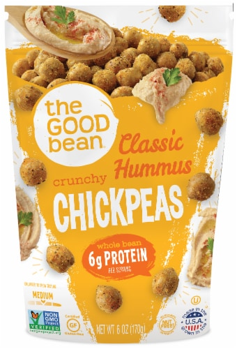 The Good Bean Classic Hummus Crunchy Chickpeas Perspective: front
