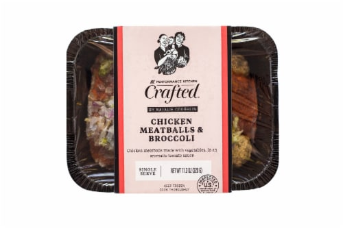 Performance Kitchen Crafted Frozen Mediterranean Chicken Meatballs with Broccoli Meal Perspective: front