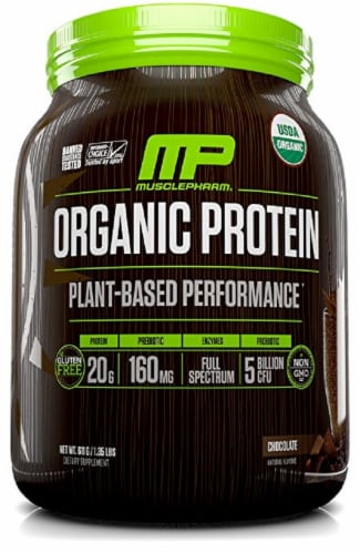 MusclePharm Organic Chocolate Protein Powder Perspective: front