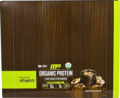 MusclePharm Organic Chocolate Toffee Protein Bars Perspective: front