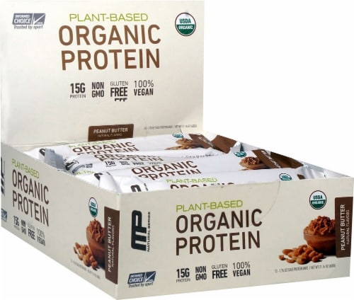 MusclePharm  Organic Protein Bar   Peanut Butter Perspective: front