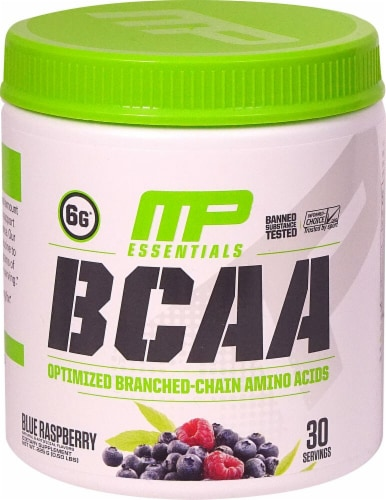 MusclePharm  BCAA Essentials Powder   Blue Raspberry Perspective: front