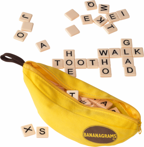 Bananagrams Crossword Tile Game - Yellow Perspective: front