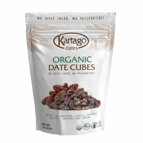 Organic Date Cubes 12/1lb (Pouches) Perspective: front