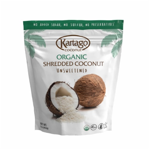 Organic Shredded coconut 12/1lb(Pouches) Perspective: front