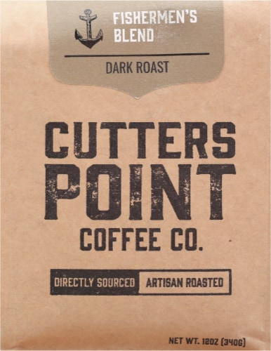Cutters Point Coffee Co. Fishermen's Blend Dark Roast Ground Coffee Perspective: front