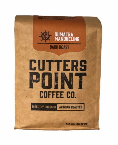 Cutters Point Coffee Co. Sumatra Mandheling Ground Coffee Dark Roast Perspective: front