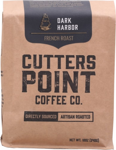 Cutters Point Coffee Co. Dark Harbor French Roast Ground Coffee Perspective: front