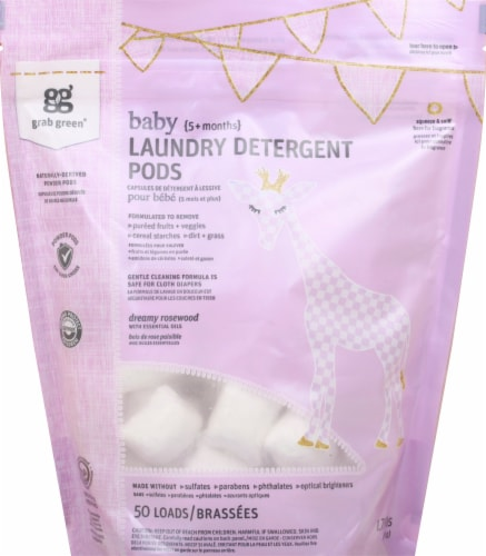 Grab Green Rosewood Scent Baby Laundry Detergent Pods Perspective: front