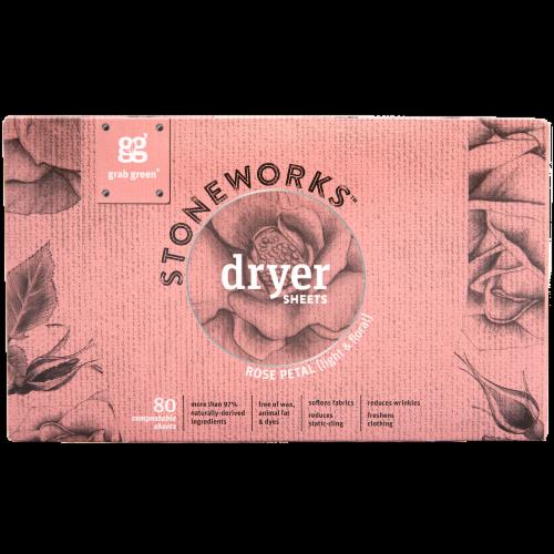Grab Green Stoneworks Rose Petal Dryer Sheets Perspective: front