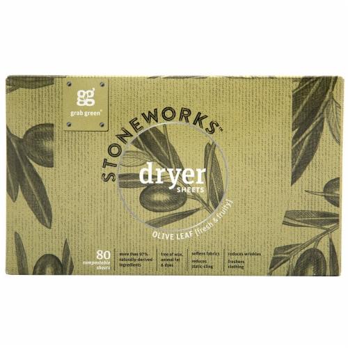 Grab Green Stoneworks Olive Leaf Dryer Sheets Perspective: front