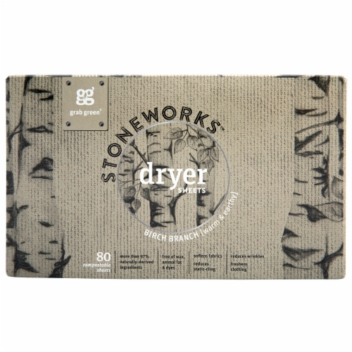 Grab Green Stoneworks Birch Branch Dryer Sheets Perspective: front