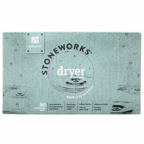 Grab Green Stoneworks Rain Fragrance Free Dryer Sheets Perspective: front