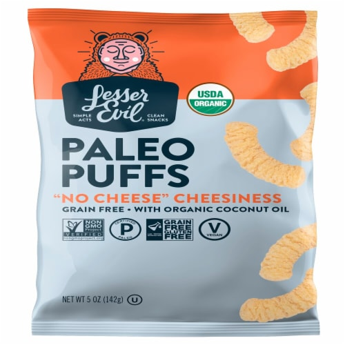 LesserEvil No Cheese Cheesiness Grain Free Paleo Puffs Perspective: front