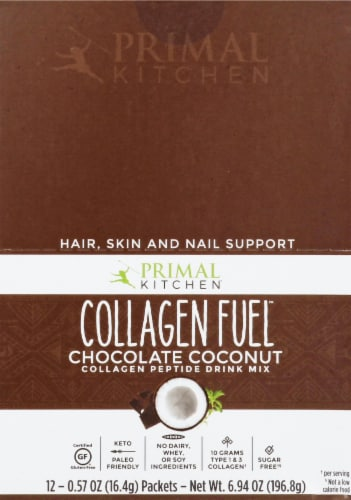 Primal Kitchen Collagen Fuel Chocolate Coconut Collagen Peptide Drink Mix 12 Count Perspective: front