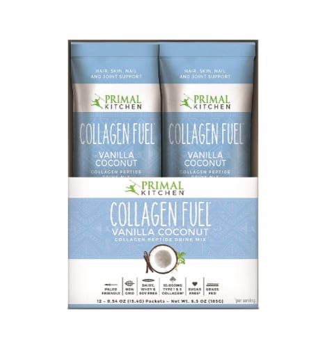 Primal Kitchen Collagen Fuel Vanilla Coconut Collagen Peptide Drink Mix 12 Count Perspective: front