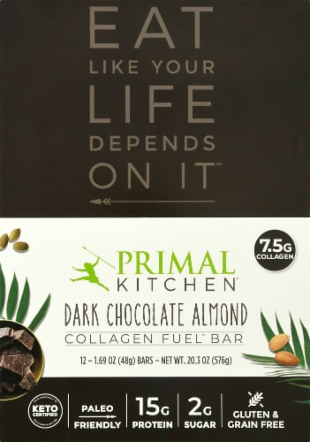 Primal Kitchen Dark Chocolate Almond Collagen Bars Perspective: front