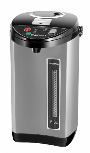 Chefman Stainless Steel Electric Hot Water Pot with Safety Lock Perspective: front