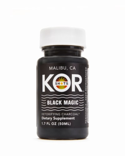 Kor Shots Black Magic Detoxifying Charcoal Dietary Supplement Perspective: front