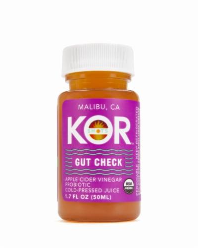 Kor Shots Organic Gut Check Apple Cider Vinegar Probiotic Cold-Pressed Juice Perspective: front