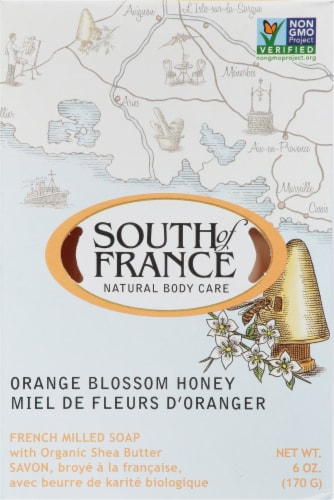 South of France Orange Blosson Honey Bar Soap Perspective: front