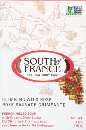 South of France French Milled Oval Soap Climbing Wild Rose Perspective: front