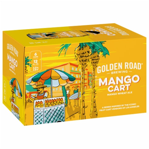 Golden Road Brewing Mango Cart Wheat Ale Perspective: front