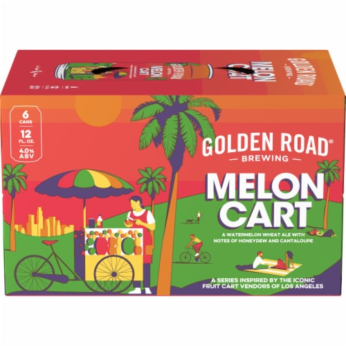 Golden Road Brewing Melon Cart Watermelon Wheat Ale Perspective: front
