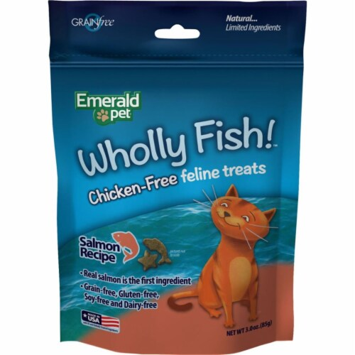 Emerald Pet Products 00640-CFS 3 oz Wholly Fish Chicken-Free Cat Treats - Salmon, Pack of 12 Perspective: front
