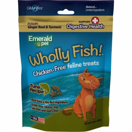 Emerald Pet Products 00643-CFTH 3 oz Wholly Fish Chicken-Free Cat Treats - Tuna DH, Pack of 1 Perspective: front