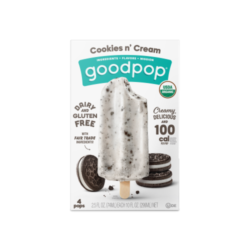Goodpop Cookies N' Cream Organic Frozen Pops Perspective: front