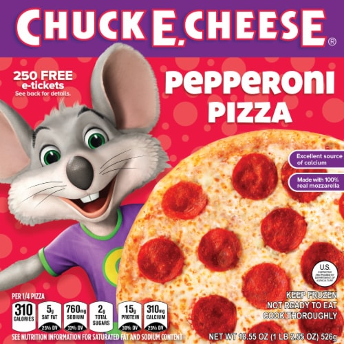 Chuck E. Cheese Pepperoni Frozen Pizza Perspective: front