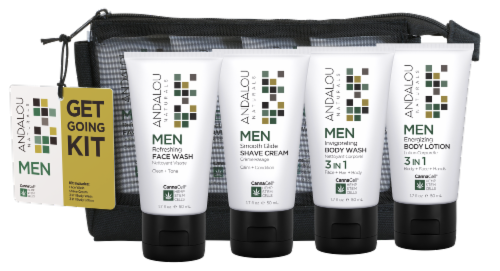 Andalou Naturals Men's Get Going Face & Body Care Kit Perspective: front