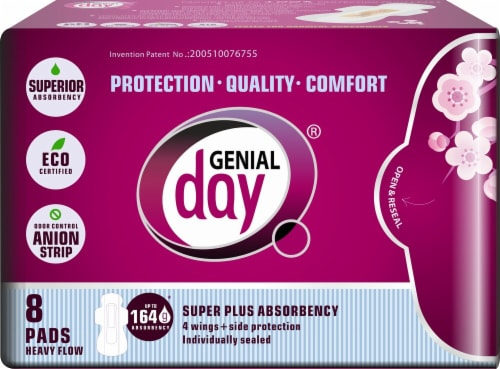 Genial Day Heavy Flow Super Plus Absorbency Pads Perspective: front