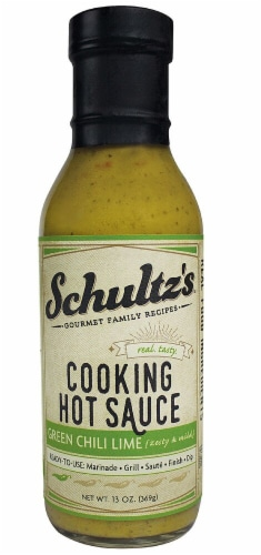 Schultz's Gourmet  Family Recipes Cooking Hot Sauce   Green Chili Lime Perspective: front