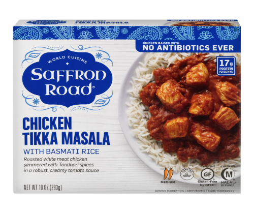 Saffron Road Chicken Tikka Masala with Basmati Rice Frozen Entree Perspective: front
