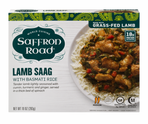 Saffron Road Lamb Saag with Basmati Rice Cuisine Frozen Meal Perspective: front