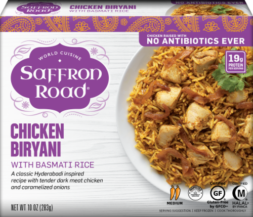 Saffron Road Chicken Biryani Rice Frozen Meal Perspective: front
