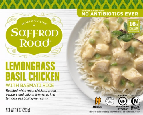 Saffron Road Lemongrass Basil Chicken With Basmatic Rice Cuisine Perspective: front