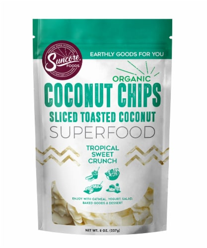Suncore Foods Organic Sliced Toasted Coconut Chips Perspective: front
