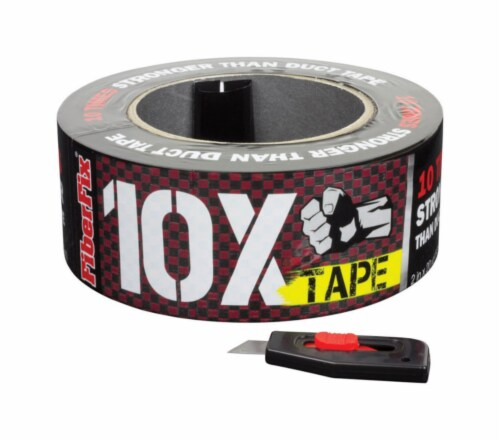 FiberFix 1.88 in. W x 20 yd. L Black/Red Checker Duct Tape - Case Of: 8; Perspective: front