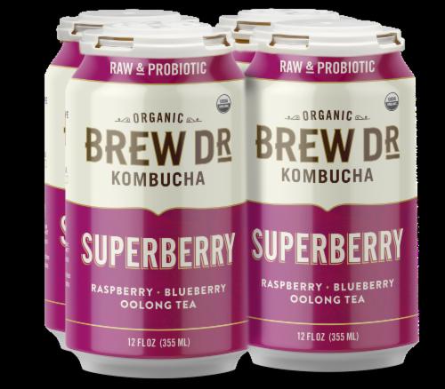 Brew Dr. Kombucha Organic Superberry Raspberry Blueberry Oolong Tea Perspective: front