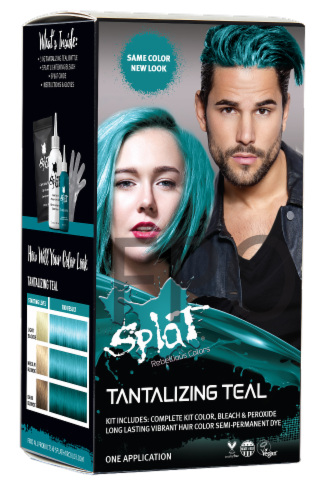Splat Tantalizing Teal Hair Color Perspective: front