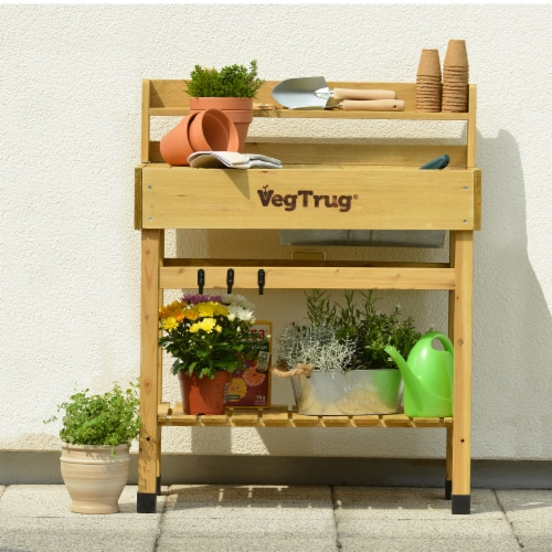 Deluxe Potting Table (inc tray and hooks) Natural Perspective: front
