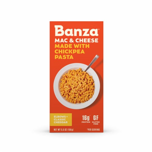 Banza® Mac & Cheese Elbows + Classic Cheddar Chickpea Pasta Perspective: front