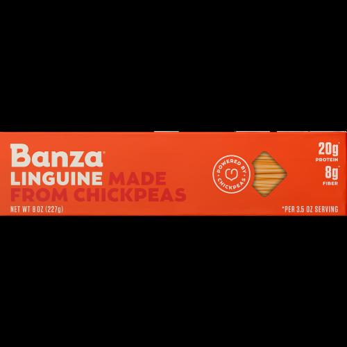 Banza Chickpea Linguine Pasta Perspective: front