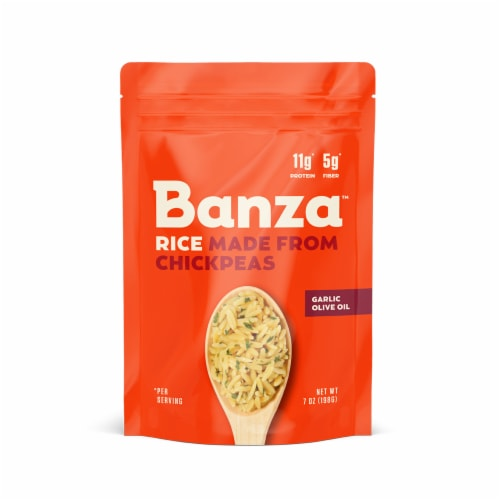 Banza Garlic Olive Oil Chickpea Rice Perspective: front