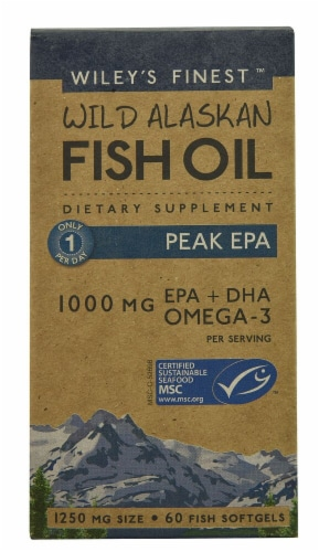 Wiley's Finest Wild Alaskan Fish Oil Peak EPA Fish Softgels 1250mg Perspective: front